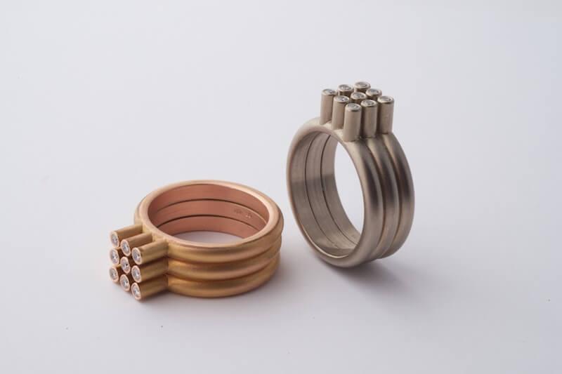 Storytelling Design   Cecile van Eeden   ringen   roodgoud   geelgoud   diamanten