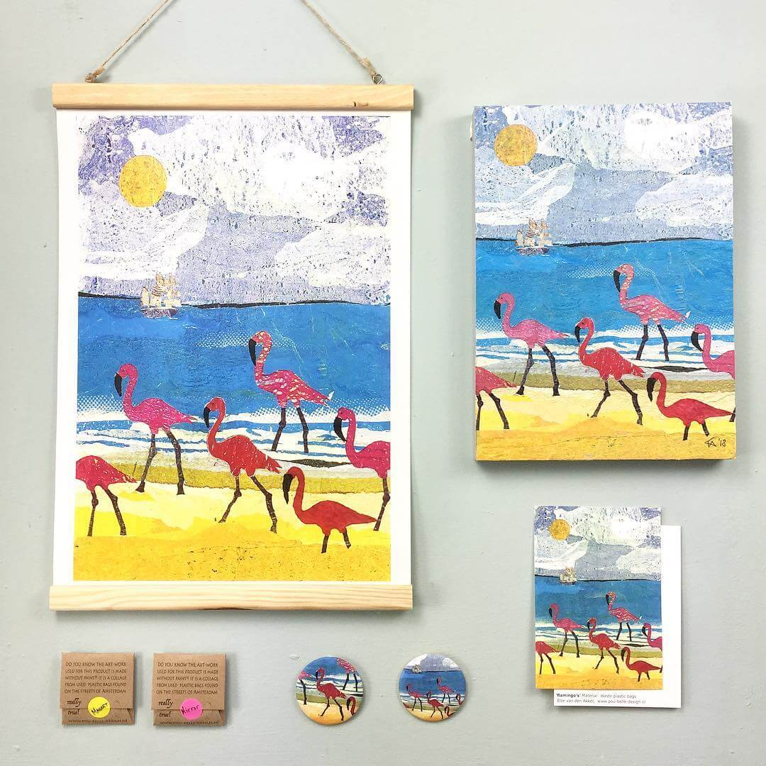 Storytelling Design | Elze van den Akker | Schilderijtjes | Flamingo's